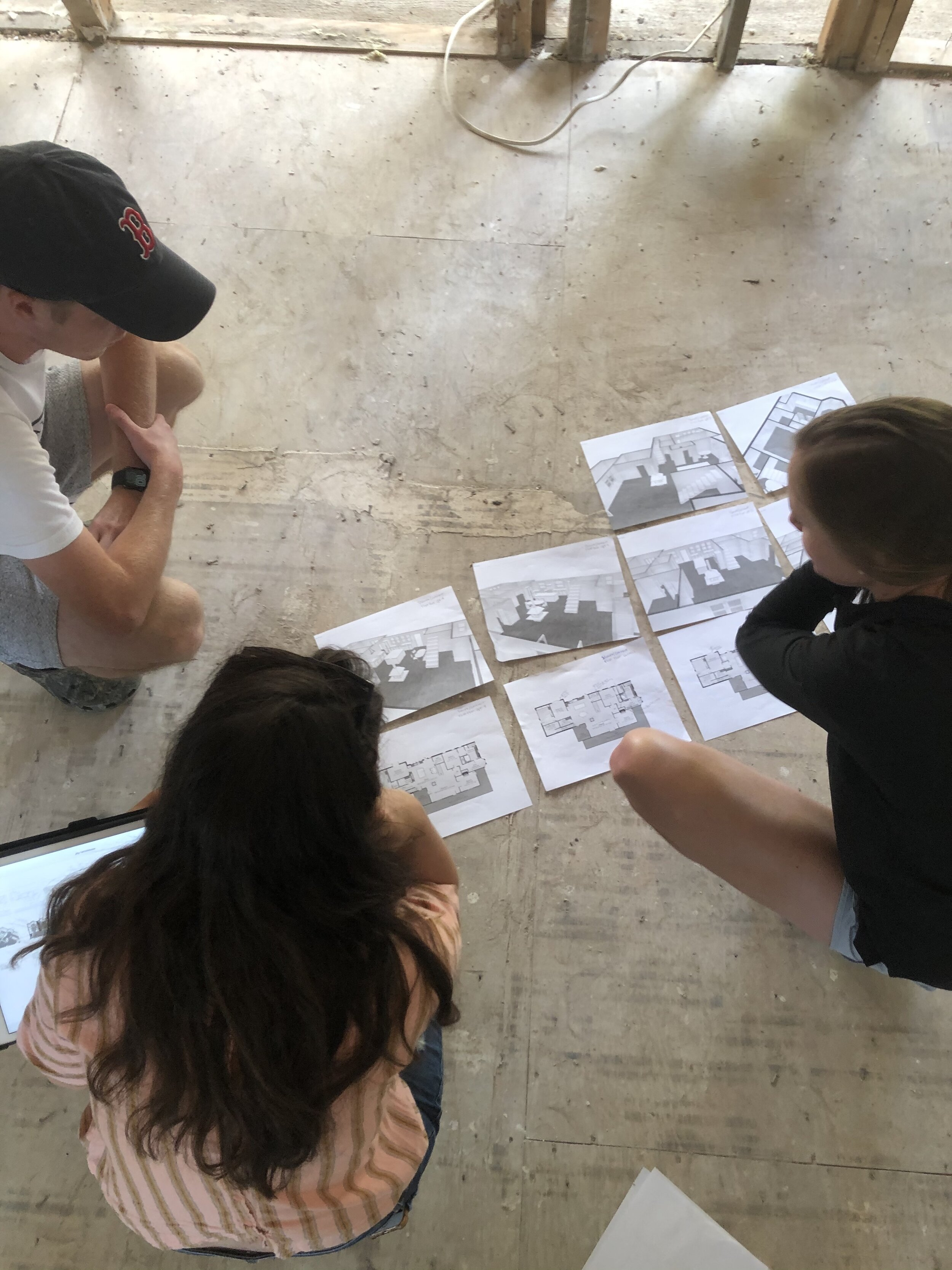 One of our early planning meetings—thinking through new kitchen layouts!